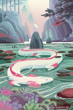 Serene Axolotl Dragon Lake fantasy art poster - A serene water dragon with axolotl qualities sleeps beneath the surface of a clear lake! Mythical Creatures Art, Fantasy Creatures, Fantasy Magic, Dark Fantasy, Fantasy Love, Fantasy World, Artwork Fantasy, Dragon Illustration, Fantasy Illustration
