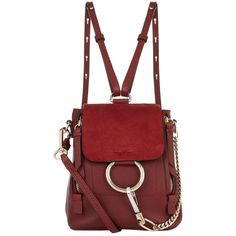 Chloé Mini Faye Backpack (22.565 ARS) ❤ liked on Polyvore featuring bags, backpacks, backpack, purses, day pack backpack, miniature backpack, backpack bags, expandable bag and red bags