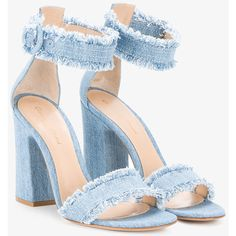Gianvito Rossi Kiki Frayed Denim Sandals (45.935 RUB) ❤ liked on Polyvore featuring shoes, sandals, ankle wrap sandals, gianvito rossi sandals, block heel sandals, gianvito rossi and block heel ankle strap sandals