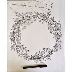 Maybe around arm Fine Art Drawing, Art Drawings, Tatoo Flowers, Drawing Flowers, Illustration Blume, Wreath Drawing, Pen Art, Floral Illustrations, Doodle Art
