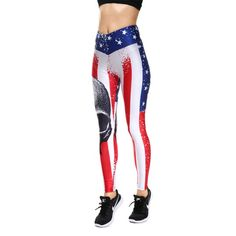 Lesubuy V Wide Waistband Full Length High Waisted Compression Gym Athletic Exercise Leggings Workout For Women XS-XL Skull Leggings, White Leggings, Printed Leggings, Workout Leggings, Women's Leggings, Workout Pants, Tights, American Flag Leggings, Ankle Length Pants