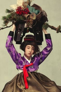 Vogue Korea does it again.Two of my personal all time favorite fashion shoots ( here and here ) were found in Vogue Korea's illustrious p. Korean Traditional Dress, Traditional Fashion, Traditional Dresses, Traditional Styles, Fashion Shoot, Fashion Art, Editorial Fashion, Fashion Images, Vogue Korea