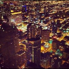 Chicago lit up at night!