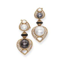 A PAIR OF CULTURED PEARL AND DIAMOND EAR CLIPS, BY MARINA B