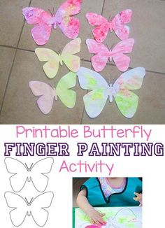 Printable Butterfly Finger Painting Activity, Finger Painting Craft, Butterfly Crafts, Butterfly Art Pieces, Finger Painting Ideas, Preschool Painting Ideas