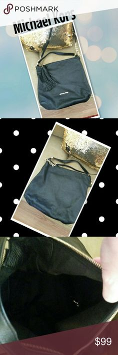 Michael Kors Authentic, Shoulder/Crossbody Michael Kors Bag. Very Soft Pebbled Leather with Tassel. GUC, No Dustbag, No Stains, No Odors. Black with Gold Accents. Michael Kors Bags Crossbody Bags