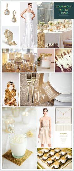Inspiration for a glamorous White & Gold themed #wedding curated by #REVEL #nordstromweddings  I love white and gold!