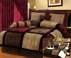 "7 Pieces Brown, Burgundy, and Black Suede Patchwork Comforter Size 90"" X 92"" Bedding Set"