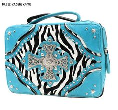 SQUARE / Rectangle Purse, Cross in Crystal design with zebra and blue! Tons of studs / embellishments! Available X-Body SKULL PURSE Bag! Crystal Bling! Available at Posh By Tori Boutique. Check out our store on YouTube! https://www.youtube.com/watch?v=kpzTlDVy16k  - If you're not in MI and would like to order, send us an email or contact us through facebook: http://www.facebook.com/poshbytori
