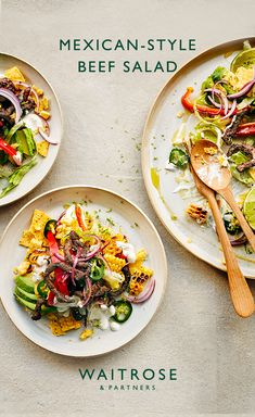 Spicy Mexican-style beef salad with charred corn, creamy avocado and hot jalapenos. A little summery taste of Mexico. Tap to see the full Waitrose & Partners recipe. Healthy Eating Recipes, Meat Recipes, Mexican Food Recipes, Cooking Recipes, Waitrose Food, Beef Salad, Midweek Meals, Recipes From Heaven, Mexican Style