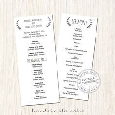 57 best wedding program images on pinterest my etsy shop wedding