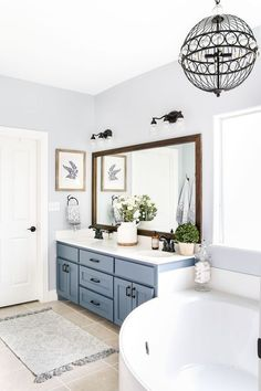 guest bathroom idea-I wish I knew the paint color of wall & cabinet!