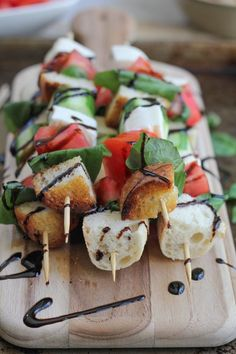 Caprese Kabobs with Balsamic Glaze #healthy #app #snack