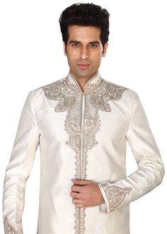 masti.co.uk offers Ivory Raw Silk Indian Sherwani Suit by Ladlee - Ladlee Direct – Online British Asian Shopping