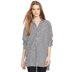 Striped Cotton Poplin Tunic・WOMEN Shirts & Blouses・Apparel | Shop By Category - Ralph Lauren Asia