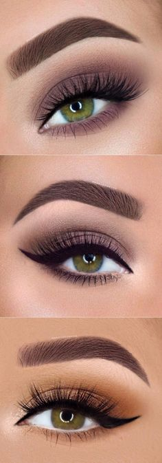 Different eyeliner styles give quite a different dimension to your eyes. - Makeup Tips Different eyeliner styles give quite a different dimension to your eyes. Discover how to do eyeliner Skin Makeup, Eyeshadow Makeup, Makeup Brush, Green Eyes Makeup, Eyeshadow For Green Eyes, Neutral Eye Makeup, Makeup Eyebrows, Matte Eyeshadow, Makeup Mascara