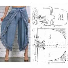 Vintage Dress Patterns, Dress Sewing Patterns, Clothing Patterns, Diy Corset, Diy Clothes Design, Hippie Style Clothing, Wrap Pants, Clothing Hacks, Pants Pattern