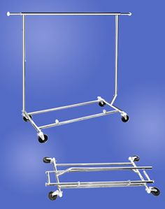 My portable closet! Straight Bar Clothing Racks - Collapsible Salesmen`s Rack