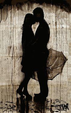 "Loui Jover - ""Rainy Day Love Story"" ink drawing."