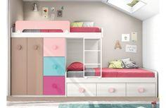 muebles boom 975 euros Cama tren original con cama nido y cajones en tonos pastel