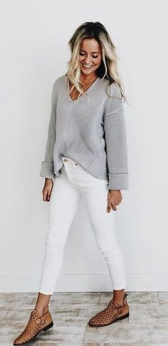 #winter #outfits gray sweater with white denim jeans