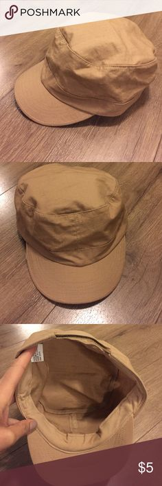 Military Style Hat - khaki One Size fits all. Rarely worn,adjustable Velcro. Bundle with something else in my closet! Accessories Hats