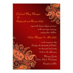 red, orange, gold wedding | Indian Wedding Invitations, 1,400+ Indian Wedding Invites ...
