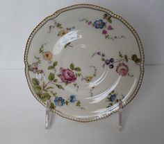 This listing is for one(1) beautiful cup saucer (no cup) manufactured in the USA by Castleton China in the Sunnyvale pattern between the years 1957 to 1972. It has a floral pattern with gold edges. The saucer measures 6-1/4 across and is in perfect shape with no chips or cracks. Very little wear to gold if any. It is marked on the bottom with the makers mark Castleton China, Made in U.S.A., Sunnyvale. I have available.  I have shown multiple pictures so please review all before making your…