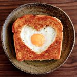 egg in the hole heart-shaped toast :)