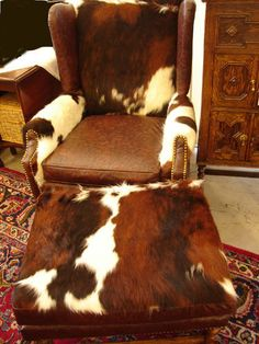 Image Detail for - Upholstered Cowhide Chair - Chair Upholstered with Cowhide