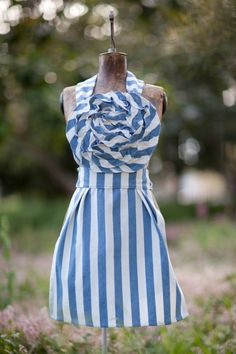Mommy/Daughter French Blue Striped Apron