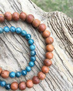 Blue Apatite Healing Spiritual Gemstone Wood Bead Stretch