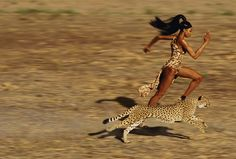 Naomi Cambell as shot by Jean Paul Goude in the British edition of Bazaar. Now at first blush, it seems unlikely that Naomi is outrunning the cheetah, but what you don't see is she's running towards an unruly assistant who needs a lesson in manners. The cheetah is headed towards the raw meat that had been tied to the assistants neck. Win win.