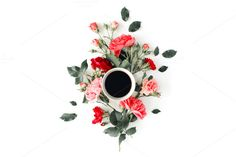 #Floral composition with coffee mug  Cup of coffee with pink roses and flowers. Flat lay composition for bloggers magazines web designers social media and artists. This purchase includes one high resolution horizontal digital image. Image is a sRBG jpg and is approximately 6000x4000 pixels. License terms: http://ift.tt/1W9AIer
