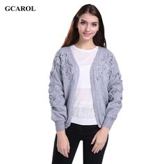 Women Korean Open Stitch Lantern Sleeve Cardigan Floral Ruched Design Crop Knitted Coat Stretch Casual Basic Knitted Sweater