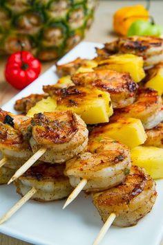 Crevettes grillées à la jerk et ananas Brochettes ~ Tout simplement fabuleux!