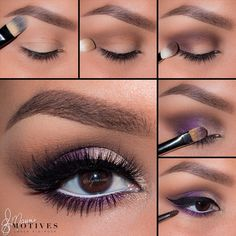 Purple makeup look using Motives In The Nude palette