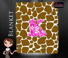 Monogrammed Blanket, Personalized Blanket with Custom Colors, Giraffe print on Etsy, $44.99