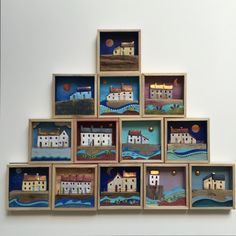 Mini coastal shadow boxes www.bridgetwilkinson.co.uk Driftwood Projects, Wooden Projects, Driftwood Art, Art Projects, Scrap Wood Art, Wooden Art, Beach Crafts, Fun Crafts, Diy And Crafts