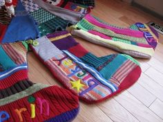 Stockings from recycled sweaters