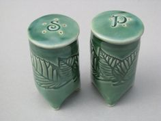 Handmade Textured Salt and Pepper Shakers in by CeramicsbyMarcelle