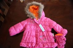 NWT Okie Dokie Girls Coat with mittens SZ 18M Pink And Cute W Faux Fur