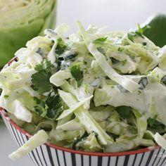 Creamy Lime-Cilantro Slaw Recipe - Remington Avenue Slaw Recipes, Healthy Recipes, Healthy Foods, Yummy Recipes, Keto Recipes, Vegetarian Recipes, Cabbage Salsa, Cilantro Lime Slaw, Weird Food