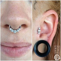 We upgraded Miss Stevie's septum last week with this Odyssey clicker from #industrialstrength. She popped in today for a new tragus  piercing and picked out this flashy #anatometal cluster. So much sparkly!