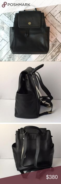 Tory BURCH Baby Back Pack Brand new with tags attached authentic Tory Burch Back Pack. Beautiful black pebbled leather finished with gold hardware. Two exterior bottle pockets. Backpack straps are adjustable by buckle. Top handle allows you to hang the back on a hook or to carry by hand. Strong magnetic closure along with drawstring ensures all of your belongings are secure. Inside there are multiple pockets for storage. Diaper changing pad is not included. Perfect for mom on the go! Tory…