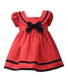Loving this Red Nautical Bow Dress - Infant & Toddler on #zulily! #zulilyfinds