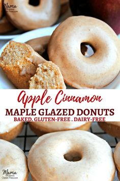 easy baked gluten-free apple cinnamon donuts with maple cinnamon glaze will be your family's favorite fall breakfast treat. An easy gluten-free breakfast. Dairy-free too. Gluten Free Doughnuts, Gluten Free Sweets, Gluten Free Baking, Gluten Free Dairy Free Donut Recipe, Apple Recipes Vegan Gluten Free, Free From Dairy Desserts, Healthy Gluten Free Snacks, Gluten Free Apple Cake, Dairy Free Treats