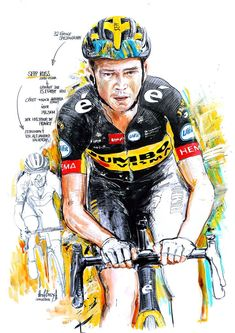 Sepp Kuss, Jumbo-Visma, gewinnt die 15. Etappe der 108. Tour de France 2021 (100x70cm) Cycling Art, Bicycle, Comic Books, Comics, Illustration, Poster, Drawing Drawing, Road Cycling, Kiss