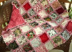REDUCED Christmas Rag Quilt -Holiday Frost Red and Gray Woodland ... : christmas rag quilt patterns - Adamdwight.com
