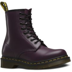 Dr. Martens 1460 Lace Low Boot ($125) ❤ liked on Polyvore featuring shoes, boots, ankle booties, purple, polish shoes, leather shoes, dr martens footwear, real leather shoes and slip resistant shoes